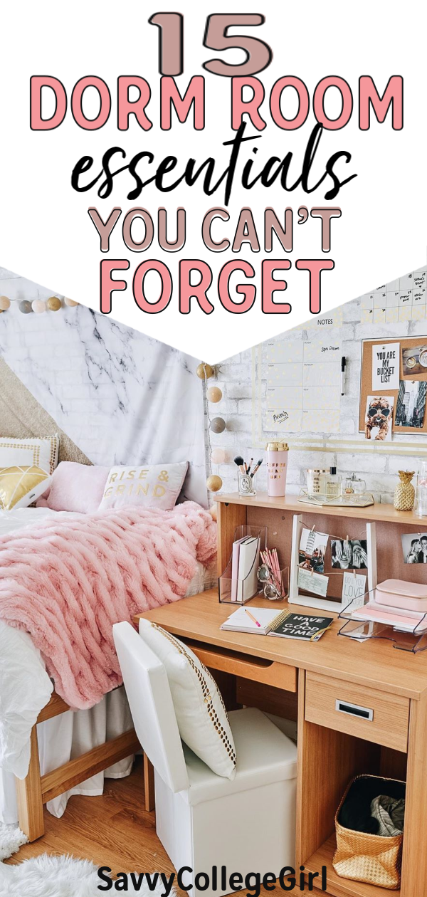 The 15 dorm room essentials you don't want to forget for college! All of these are great ways to make your dorm room feel like home! my roommate and I used all of these dorm room essentials freshman year. Highly recommend you get these dorm products for college. Lear how to make a dorm room feel like home! #dormroomessentials #dormroom #dormroomdecor #dormroomdiy