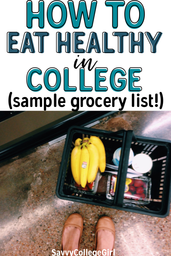 Eating healthy in college doesn't have to be hard! In fact, it is pretty easy to avoid the freshman 15 if you follow this easy college grocery list and meal ideas. Easy meal ideas to stay fit and on track from freshman year until senior #college #eatinghealthy