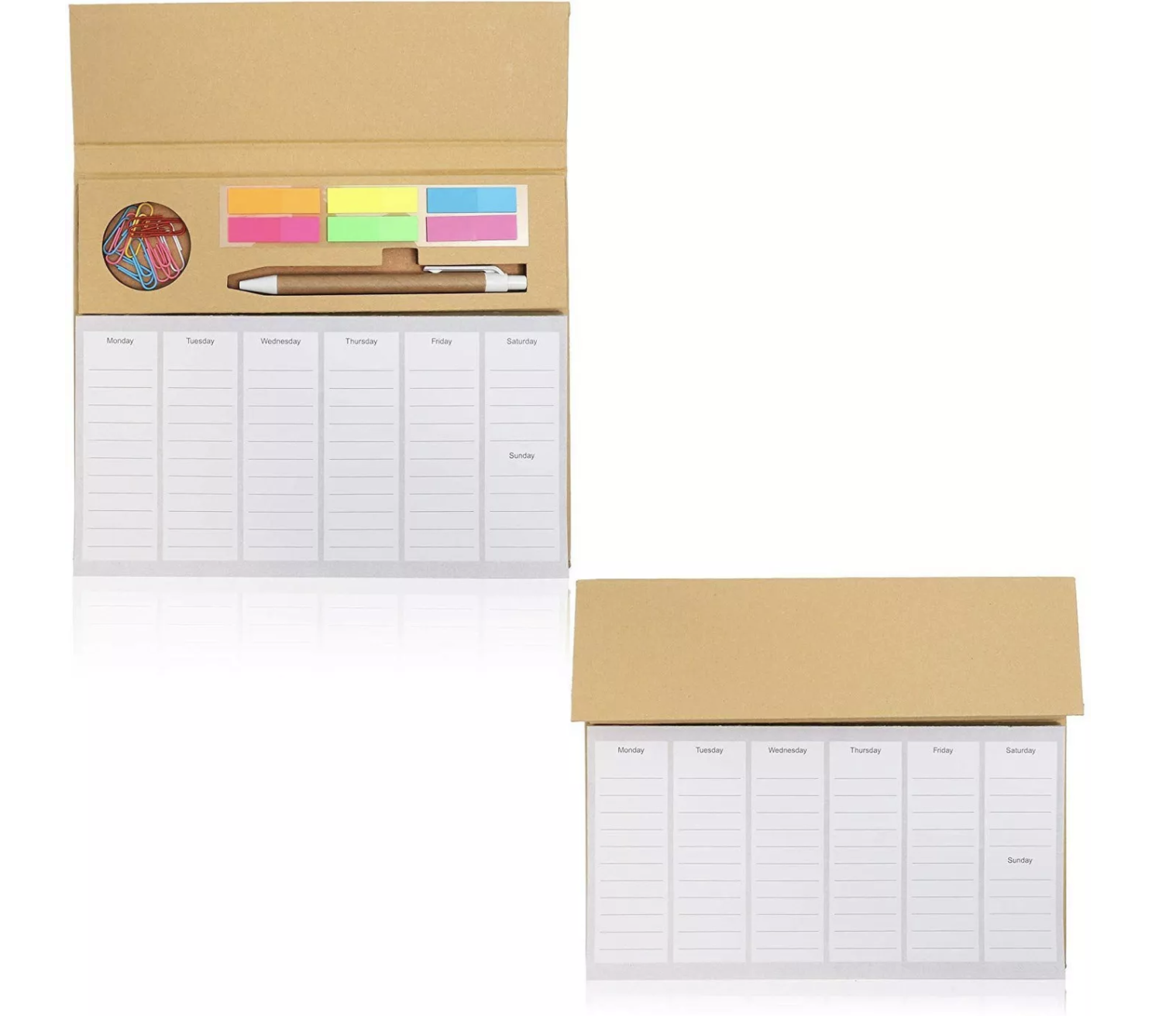 Paper Junkie 2-Pack Desktop Weekly Planner Pads Notepad with To Do List, Sticky Notes, Paper Clips...