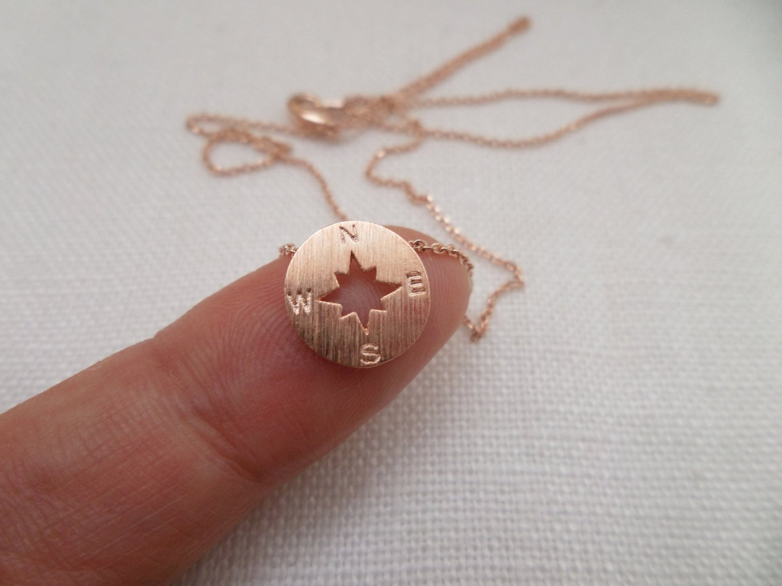 Tiny Gold, Silver or Rose Gold Compass Necklace