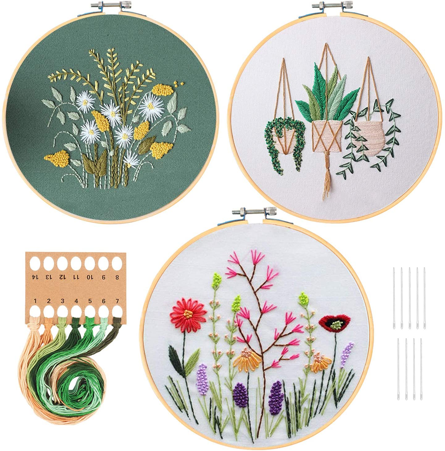 3 Sets Embroidery Starter Kit with Pattern and Instructions, Cross Stitch Kit Include 3 Embroidery Clothes with Floral Pattern, 3 Bamboo Embroidery Hoops, Color Threads and Tools
