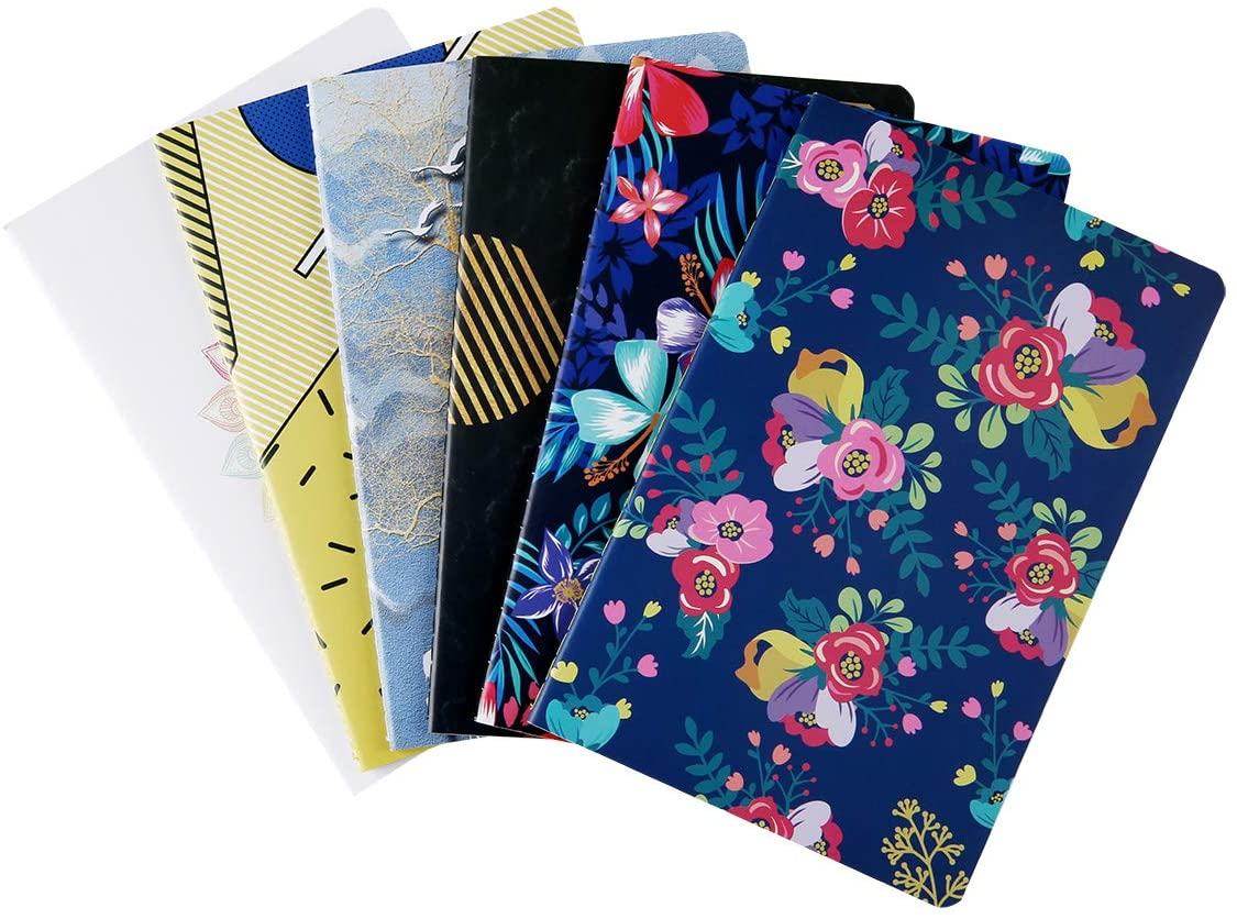 6 Pack Notebook Journals Bulk for Travelers, Class and Office, Diary Writing Subject Memo Book Planner with Lined Paper