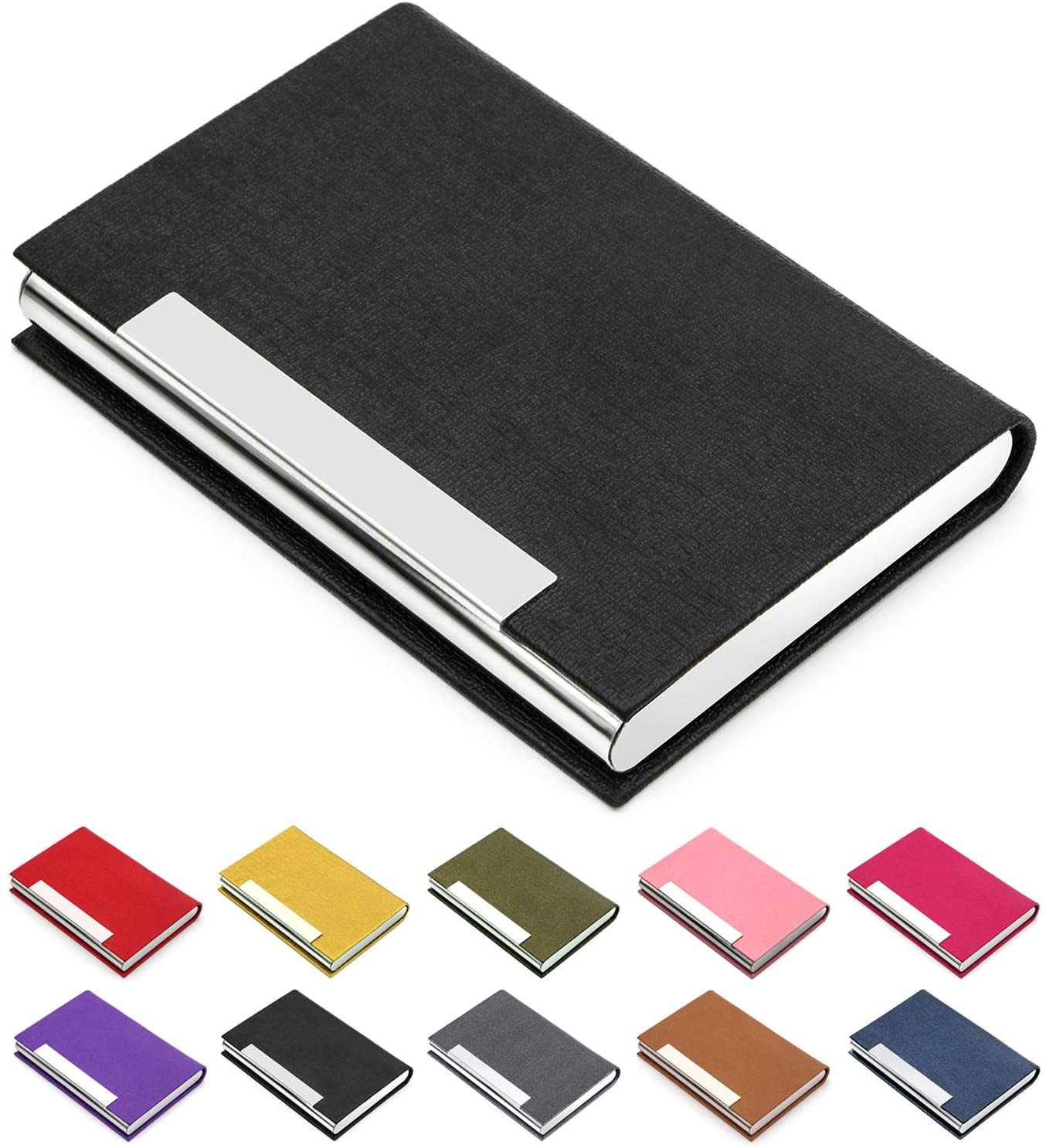 Business Card Case Luxury PU Leather & Stainless Steel Multi Card Case