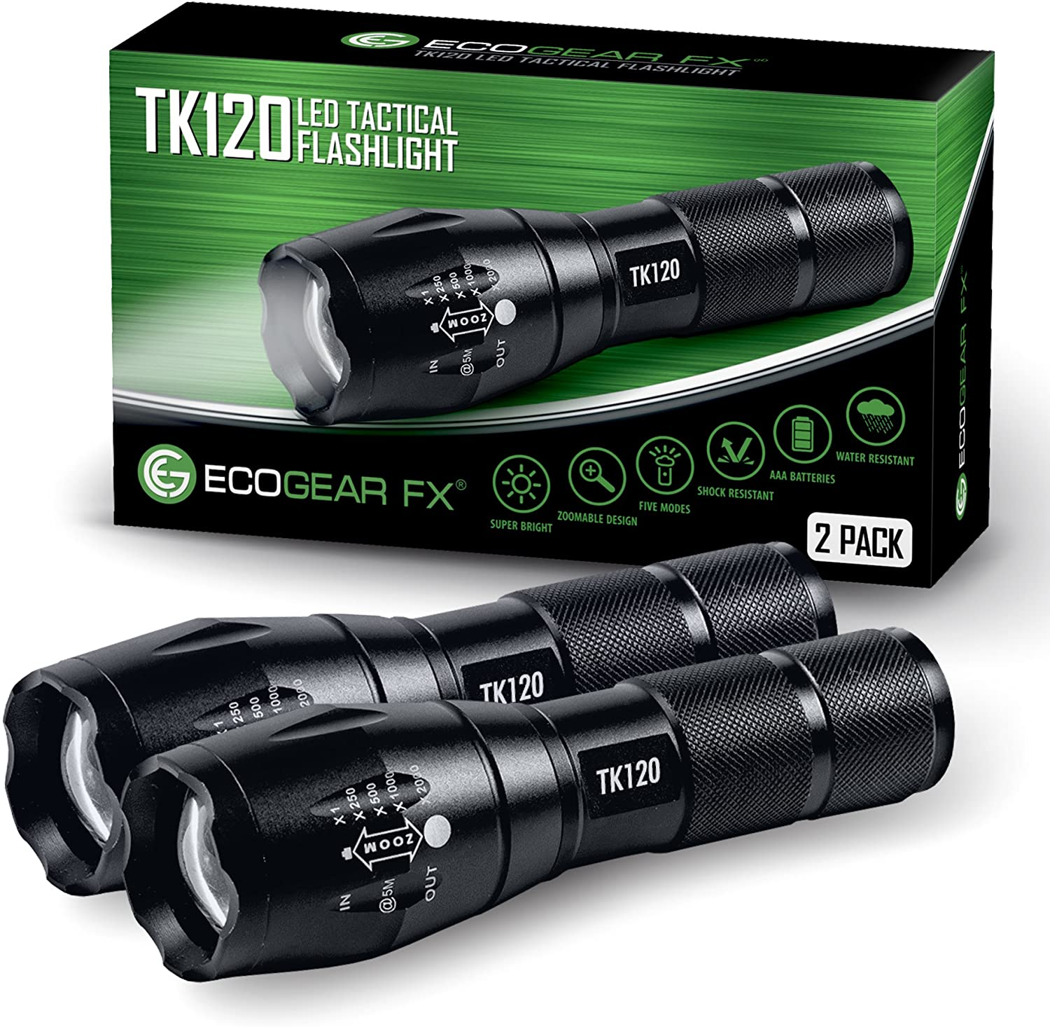 EcoGear FX LED Tactical Flashlight - 5 Light Modes, Water Resistant, Zoomable - Best Camping, Outdoor, Emergency, Everyday Flashlights