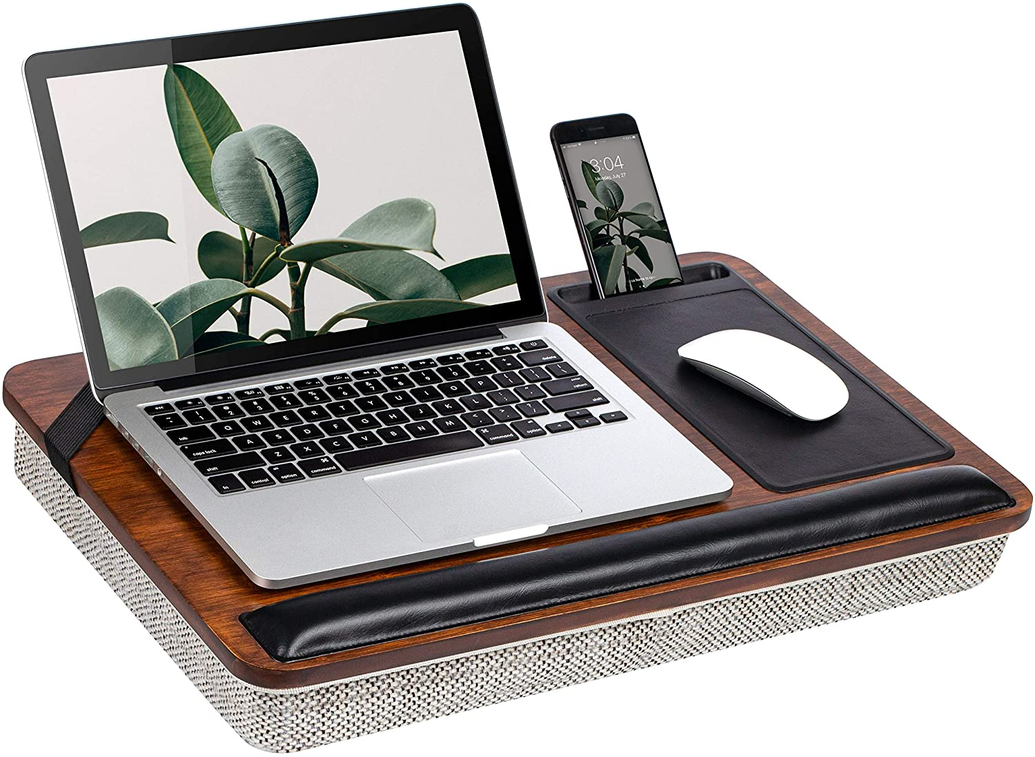 Rossie Home Premium Bamboo Lap Desk with Wrist Rest, Mouse Pad, and Phone Holder - Fits Up to 15.6 Inch Laptops